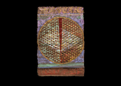 "Glimmer Series #1, Venus, 2016<br>acrylic on papyrus, 36"" x 25.5"""