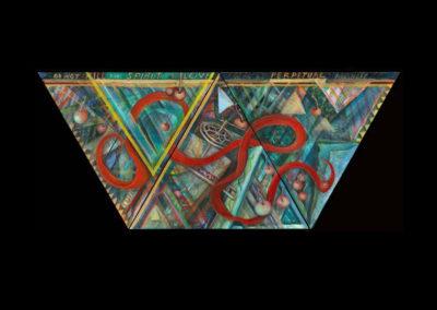 """Cherry Season for Shakespeare: Sonnet 56, 2011, acrylic on canvas, 26"""" x 60"""" (triptych)"""