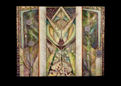 """Clear (Bahir), 2011, acrylic on canvas, 72"""" x 90"""" (triptych)"""