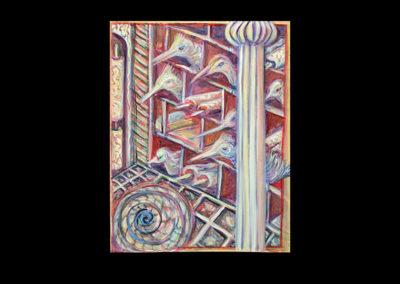 "Desecration, 2006, acrylic on archival board, 16"" x 12"""