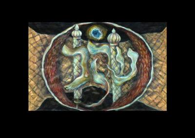 "EKEV #2, 2011, acrylic on parchment, 15.75"" x 25"""