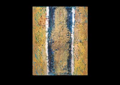 "Series IV #2, Villendorf, 2014, acrylic & silver leaf on canvas, 20"" x 16"""