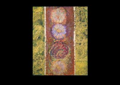 "Series IV #5, Kuan Yin, 2014, acrylic & gold leaf on canvas, 20"" x 16"""