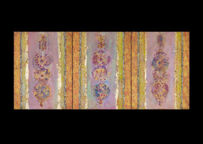"""Series VI, Icon, 2014, acrylic & gold leaf on canvas, 3 panels 20"""" x 18"""" each, 20"""" x 54"""" assembled"""