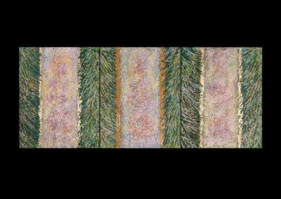 """Series VII, Magister, 2014, acrylic, gold & copper leaf on canvas, 3 panels 20"""" x 16"""" each, 20"""" x 48"""" assembled"""