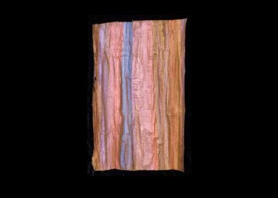 "Series VIII #3, Redwoods Skin, 2014, acrylic on papyrus, 19"" x 12"""