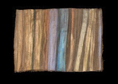 "Series VIII #6, Redwoods Cerulean, 2014, acrylic on papyrus, 18"" x 25"""