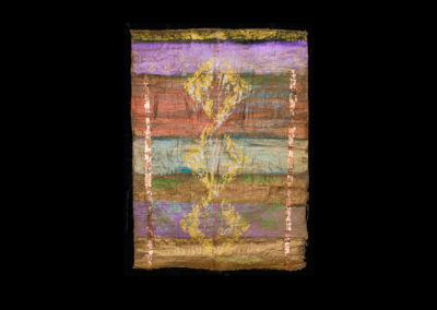 "Series VIII #9, When Life Began, 2014, acrylic on papyrus, 25"" x 18"""