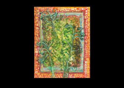 "Series II #2, Fern Gold, 2014, acrylic on canvas, 14"" x 11"""