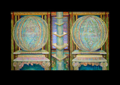 "Light Within Light, 2012/13, triptych, acrylic on canvas, 80"" x 136"""