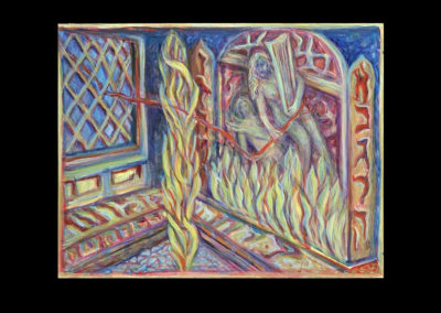 "Muse Surviving Horror, 2006, acrylic on archival board, 12"" x 16"""