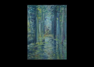 "Rain I, 2005, acrylic on archival panel, 12.75"" x 10"""