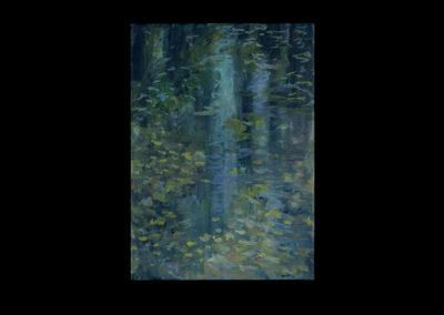 """Rain II, 2005, acrylic on archival panel, 12.75"""" x 10"""""""