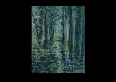 """Rain III, 2005, acrylic on archival panel, 12.75"""" x 10"""""""