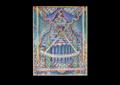 """Shaharazad & Moses go to Kocize (Shaharazad's Vision), 2006, acrylic on archival board, 16"""" x 12"""""""