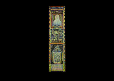 "The Temple at Midnight, (vertical diptych), 2005, acrylic on canvas, 72"" x 18"""