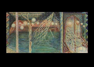 "The Birthing Vestibule, 2009, acrylic on canvas, 30"" x 60"""