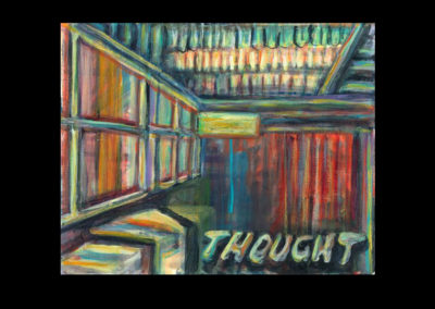 "Thought, 2011, acrylic on museum board, 8"" x 10"""