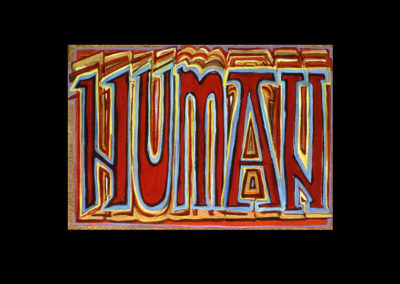 "Book of Keys #14, Human, 1993, acrylic on Arches paper, 7"" x 10"""
