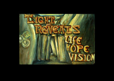 "Book of Keys #16, Light Reveals Life, Hope, Vision, 1993, acrylic on Arches paper, 7"" x 10"""