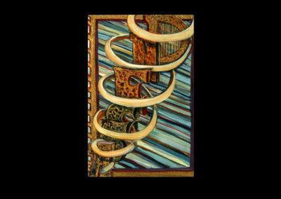 "Book of Keys #19, Ascend, 1993, acrylic on Arches paper, 10"" x 7"""