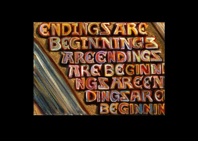 "Book of Keys #20, Endings are Beginnings, 1993, acrylic on Arches paper, 7"" x 10"""