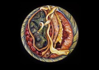 "Shakti, 1974, oil on canvas, 18"" diameter"