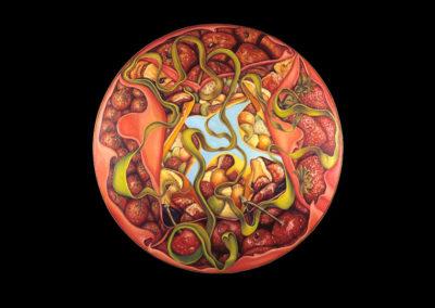 """Kyrie, 1974, oil on canvas, 48"""" diameter"""