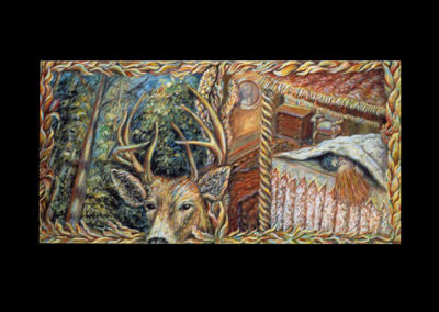 "Addiction to Conflict: Between the Universal & the Human Embrace, 1991, acrylic on canvas, 16"" x 32"""