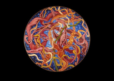 "Joy to the Mystery of Becoming, 1975, oil on canvas, 48"" diameter"
