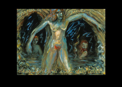 "The Angel Reveals the Demiurges and the Chthonic Spirits, 1992, acrylic on Fabriano paper, 22"" x 30"""