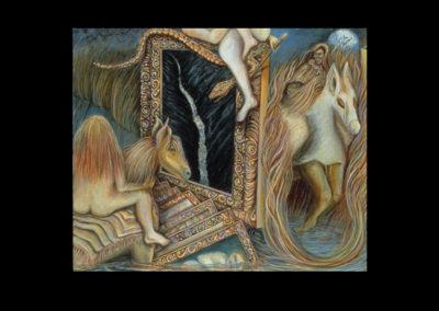 "Quandary, 1993<br>acrylic on canvas, 30"" x 36"""