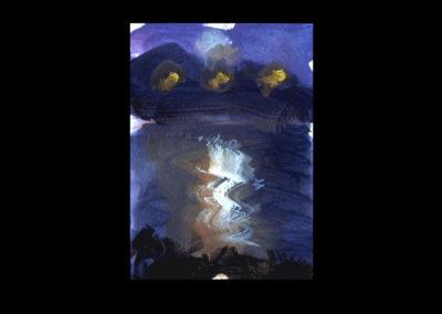 "Villa Serbelloni Postcard Series #4, Bellagio, 1992, acrylic on Dutch Aquarel paper, 6"" x 4.25 """