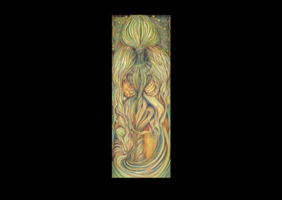 "Through Generation, 1980, oil on canvas, 66"" x 24"""