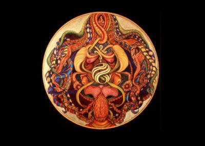 "Ain Soph, 1977, oil on canvas, 24"" diameter"