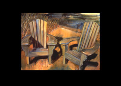 "MacDowell Chairs,1987, oil on canvas, 28"" X 38"""