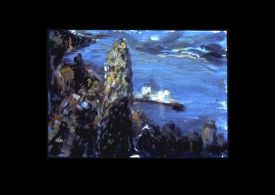 "Villa Serbelloni Postcard Series #6, Bellagio, 1992, Acrylic on Dutch Aquarel paper, 4.25"" x 6"""