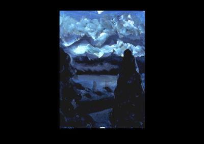 "Villa Serbelloni Postcard Series #1, Bellagio, 1992, Acrylic on Dutch Aquarel paper, 6"" x 4.25"""