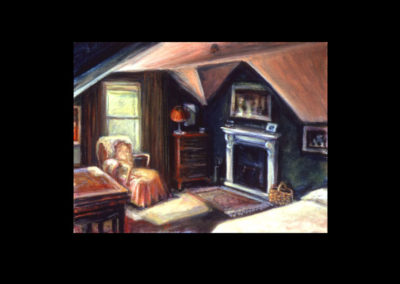 "Annaghmakerrig Postcard Series, #09, Attic at Annaghmakerrig, 1999, acrylic on Arches paper, 4.25"" x 6"""