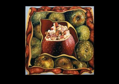 "Flapapple, 1973, oil on canvas, 36"" x 36"""