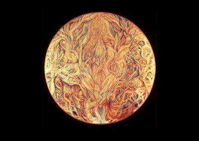 """Light Dancer, 1979, oil on canvas, 48"""" diameter"""