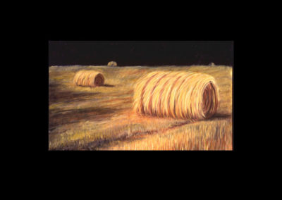 "MacDowell Hay Bale Series #11 Rolling Still, 1987, oil on canvas, 38-1/2"" x 63"""