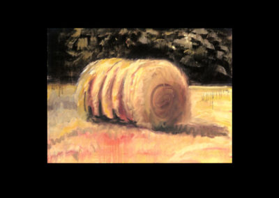"MacDowell Hay Bale Series #1 Leonine, 1987, oil on canvas, 25"" x 34"""