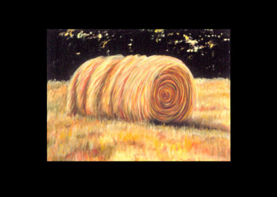 "MacDowell Hay Bale Series #3 Familiar, 1987, oil on canvas, 25"" x 34"""