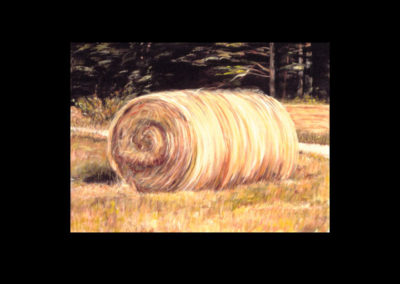 "MacDowell Hay Bale Series #4 Avuncular, 1987, oil on canvas, 25"" x 34"""
