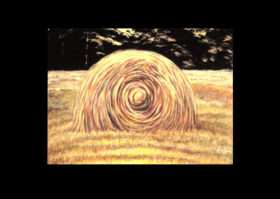 "MacDowell Hay Bale Series #5 Yantra, 1987, oil on canvas, 25"" x 34"""