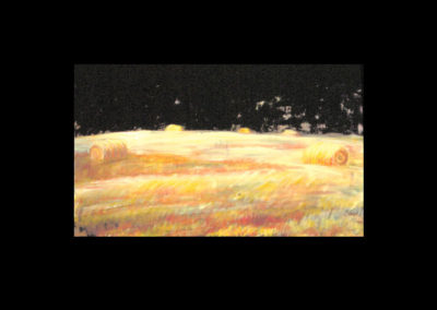 "MacDowell Hay Bale Series #7, Moon Swept, 1987, oil on canvas, 21"" x 40"""