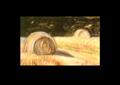 "MacDowell Hay Bale Series #8 Standing By, 1987, oil on canvas, 25"" x 40"""
