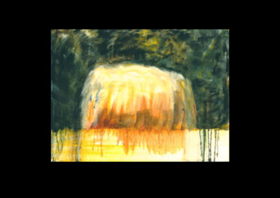 "MacDowell Hay Bale Series #9 First Shrine, 1987, oil on canvas, 25"" x 40"""