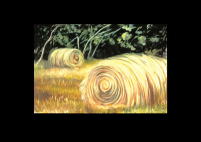 "MacDowell Hay Bale Series #10 Settled In Time, 1987, oil on canvas, 48"" x 72"""